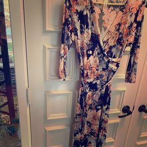 Gorgeous 3/4 sleeve wrap maxi dress